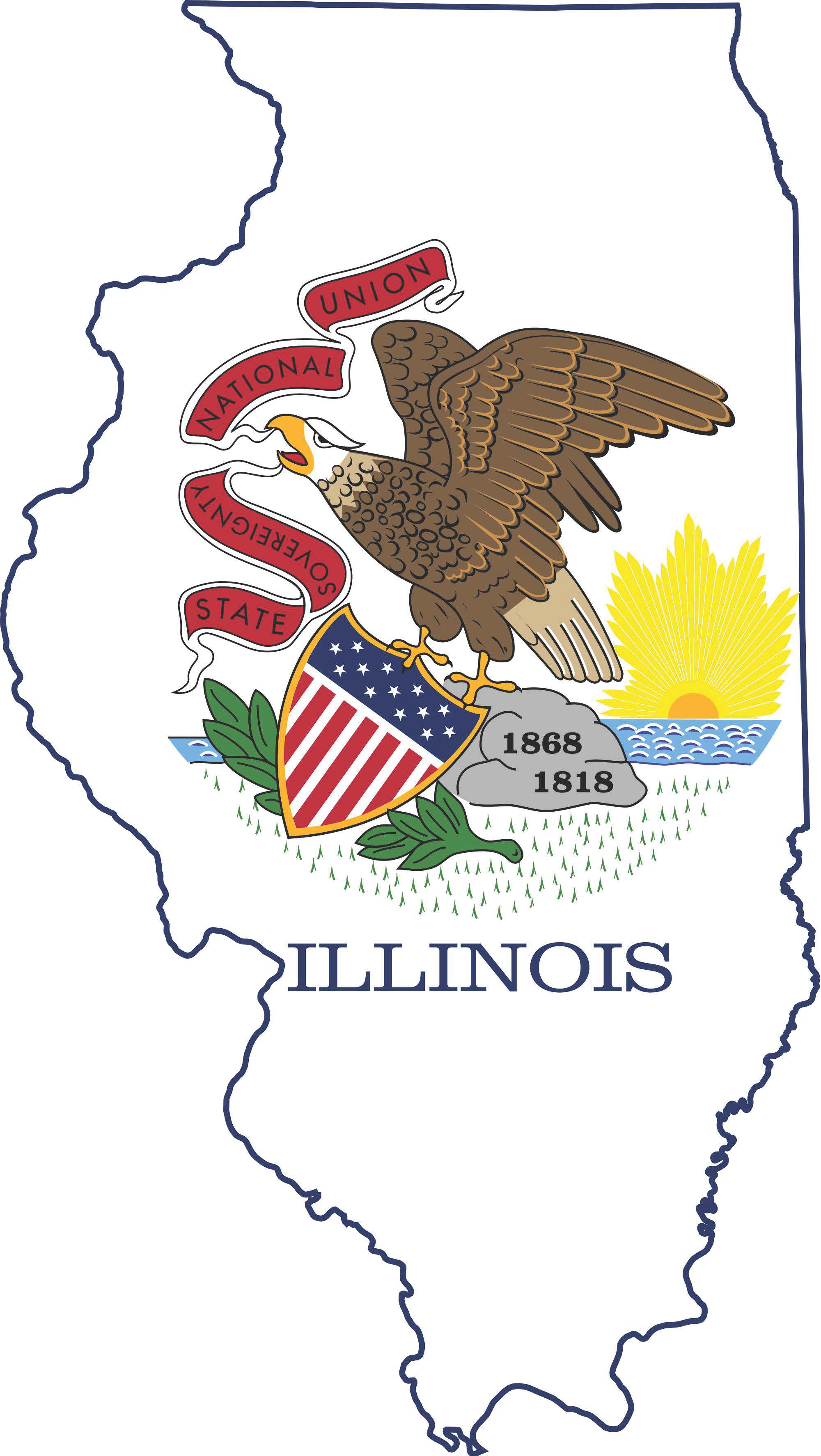 flag map of Illinois