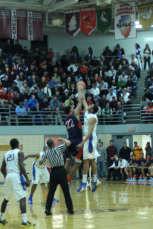 Parker opening jump ball at IHSA sectional championship
