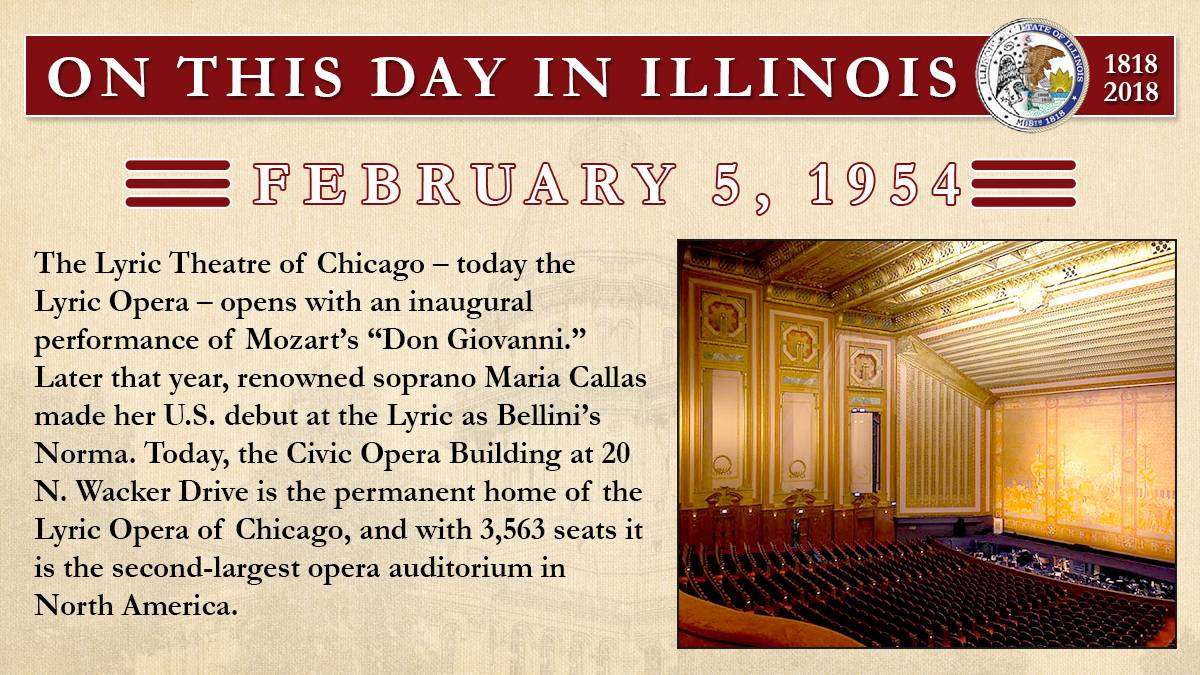 "Feb. 5, 1954: The Lyric Theatre of Chicago – today the Lyric Opera – opens with an inaugural performance of Mozart's ""Don Giovanni."""