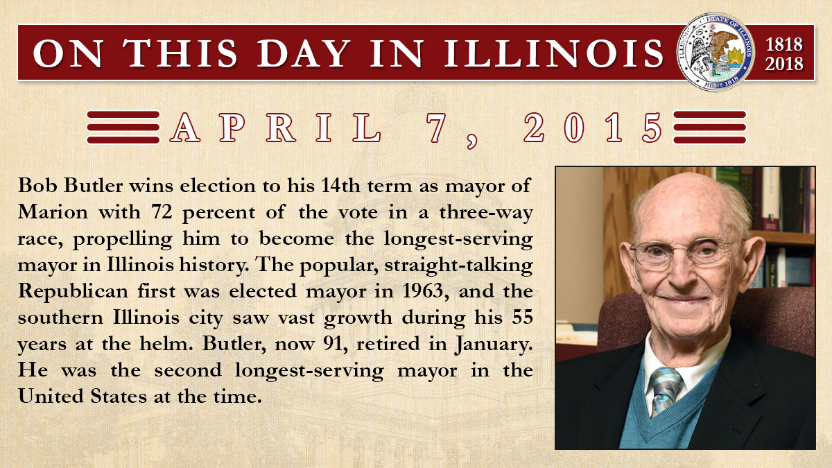 April 7, 2015: Bob Butler wins election to his 14th term as mayor of Marion