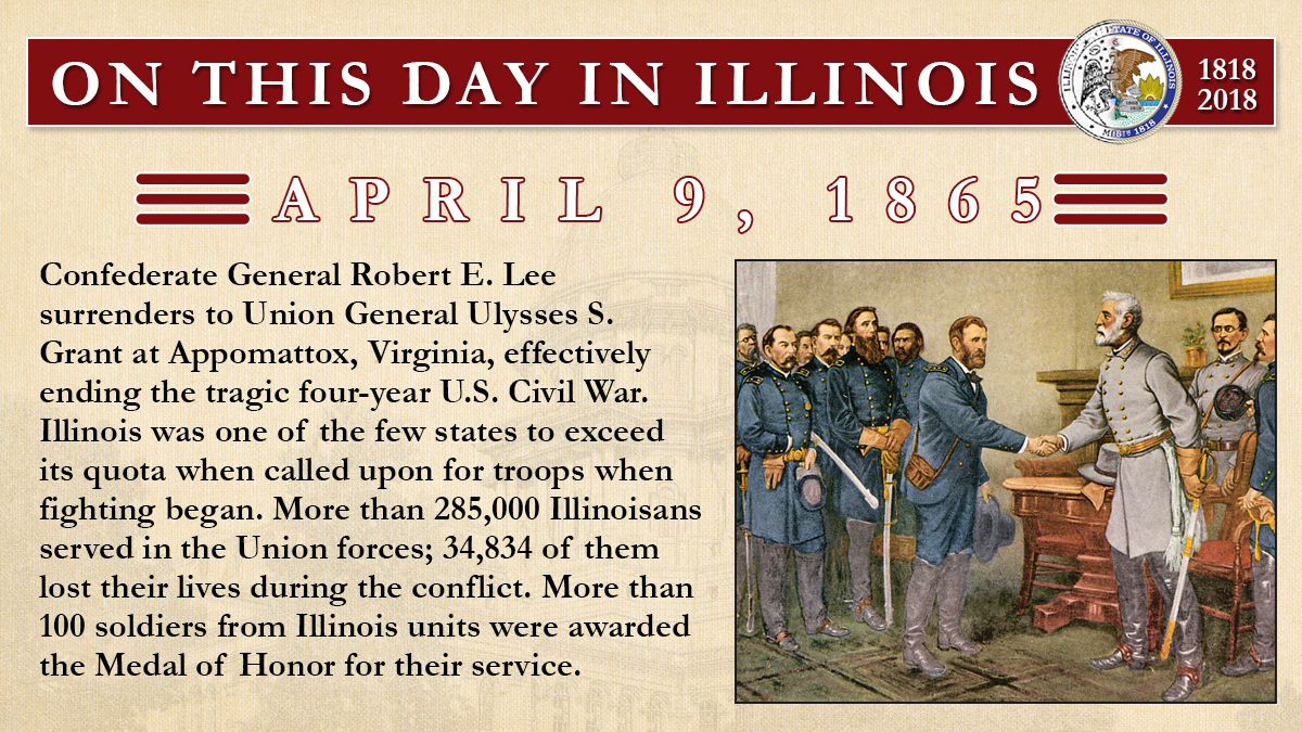 April 9, 1865: Confederate General Robert E. Lee surrenders to Union General Ulysses S. Grant