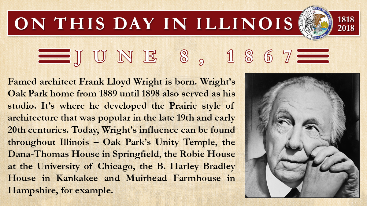 June 8, 1867: Famed architect Frank Lloyd Wright is born