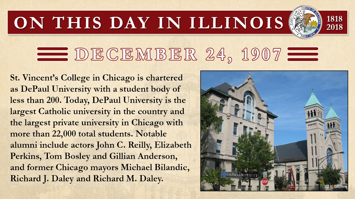 Dec. 24, 1907 - St. Vincent's College in Chicago is chartered as DePaul University
