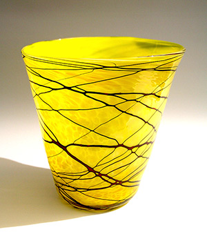 Yellow Vessel with Red Wrap