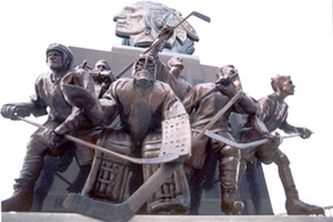 Chicago Blackhawks 75th Anniversary Sculpture at the United Center. Chicago. Bronze. (1999-2000)